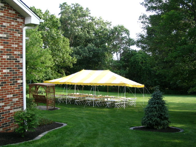 Where to find 20 x30  party canopy yellow   white in Bensenville